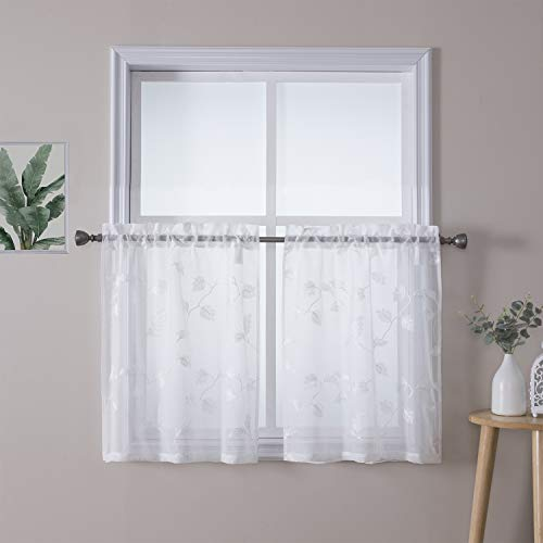 """Haperlare Sheer Kitchen Curtains, Floral Embroidered Linen Textured Tier Curtains 30 inch Length Leaf Bathroom Small Half Window Treatment, Rod Pocket Cafe Curtains, 26"""" x 30"""", Set of 2"""