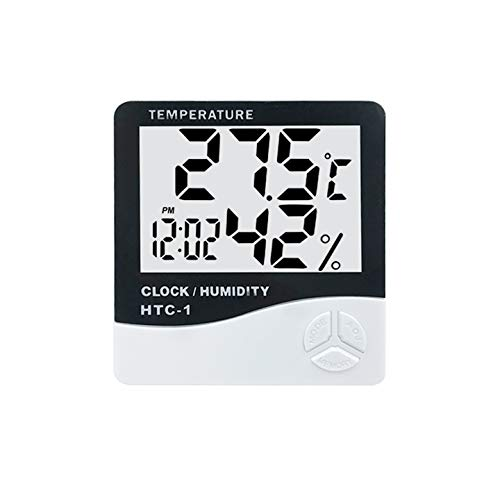 AubeAlba Digital Hygrometer Room Thermometer with Humidity Incubator Meter and Accurate Temperature Indicator Wall Mounting LCD Digital Clock & Alarm Monitor for Indoor/Outdoor (HTC-1)