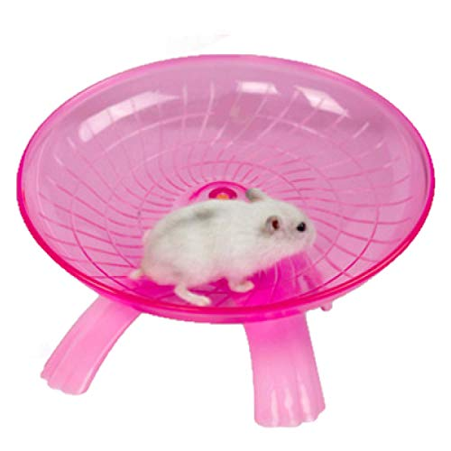 SZMYLED Rueda de ejercicio de plástico para animales pequeños – Spinner silencioso – Disco antideslizante para hámsteres, erizos pequeños, rueda de ejercicio rosa 18 x 18 x 11 cm