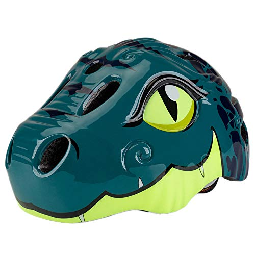 Nrpfell Casco da Bici per Bambini Design Dinosaur Pattern Safety Cycling Bike Casco Ultraleggero Regolabile da Bambino Verde Scuro