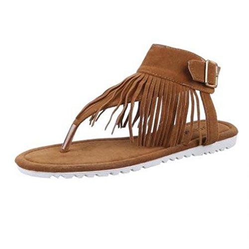 Modische Italy Damen Sandalette Sandale im Indianer Hippie Look mit Fransen Wildleder Optik (38, Camel)