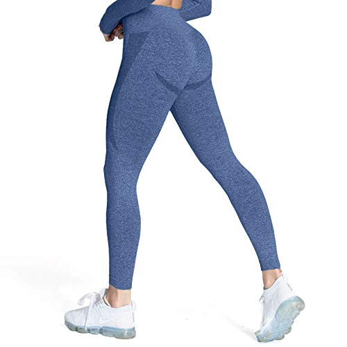 Aoxjox Seamless Leggings for Women Smile Contour High Waist Workout Yoga Pants (Royale Blue Marl, Medium)