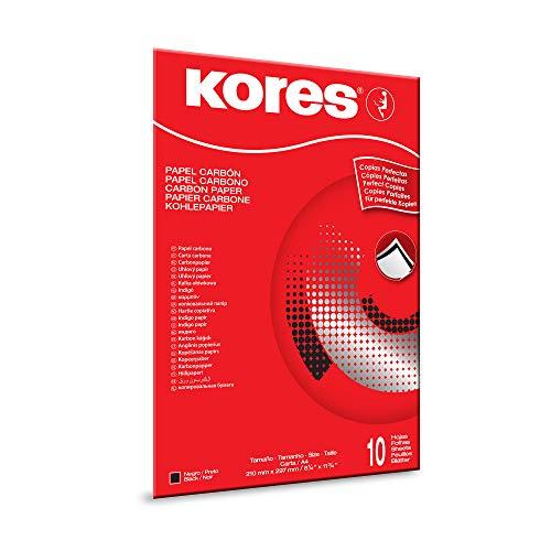 Kores Kohlepapier, KD78966, schwarz, für die Schreibmaschine, 21 x 29,7 cm, 10 Blatt