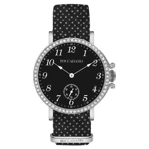 Boccadamo Reloj de mujer con esfera negra, caja de Swarovski y correa de algodón