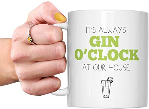 DKISEE Taza con texto en inglés 'It's Always Gin O'Clock At Our House' - Gin Lover Gin&Tonic Alcohol Gym Bodybuilder Loves G&T Cumpleaños Día del Padre Hermano hermana mamá Navidad