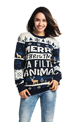 Unisex Women's Ugly Christmas Sweater Knitted Funny Holiday Pullover Fairisle, Medium