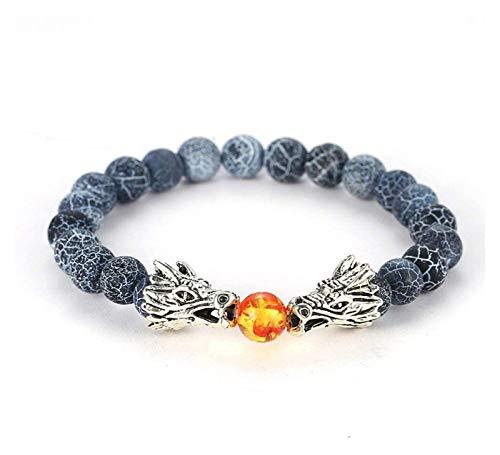ACCDUER Stone Bracelet Women,7 Chakra Natural Stone Bangle Amber Beads Navy Blue Crack Fossil Bracelets Elastic Double Dragon Jewelry Couple Women Stone bracelet