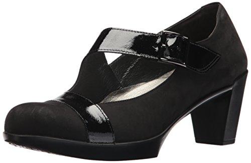NAOT Women's Brava Pump, Black Velvet Nubuck/Black Luster Leather, 38.5 Medium EU (7.5 US)