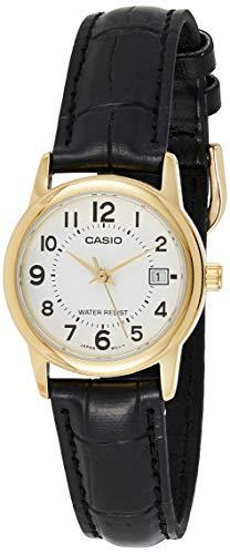 CASIO Damen Analog Quarz Uhr mit Leder Armband LTP-V002GL-7