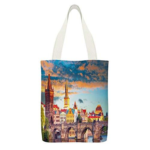 Bolsa de lona Sunset View en el casco antiguo de Praga, río Vlatava y el icónico puente de Carlos de color blanco9 bolsas reutilizables de tela de compras ecológicas superfuertes regalos