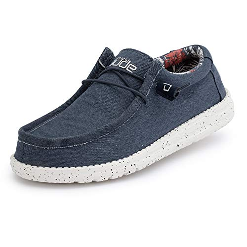 Hey Dude Wally Stretch - Mocasines para Hombre - Color Blue - Zapatos para Hombre Ligeros y cómodos - Talla EU 42