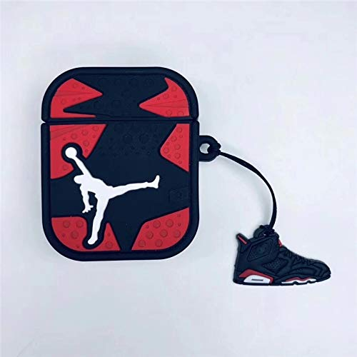 BlossomingLove Compatible with AirPods Case Keychain Full Protective Premium PVC Soft Rubber Silicone Cover Fashion Dope Self-Design Jordan Skin for AirPods Charging Case (Jordan red)