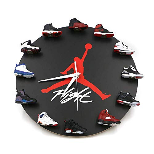 AKIGN Sneakers Wall Clock with, 3D Mini Sneakers Wall Clock with Air Jordan Style Decor 1 to 12 Wall Clock Black-A