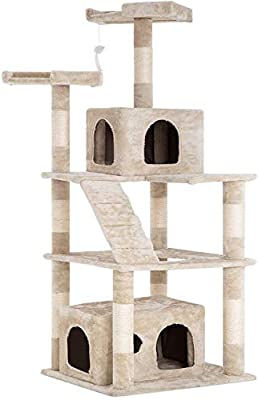 BestPet Cat Tree Tower Condo Multi-Level Kitten Plush Indoor Cat Playground with Toy and Scratching Post,64""