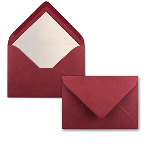 50 Brief-Umschläge Dunkel-Rot - DIN C6 - gefüttert mit weißem Seidenpapier - 100 g/m² - 11,4 x 16,2 cm - Nassklebung - NEUSER PAPIER