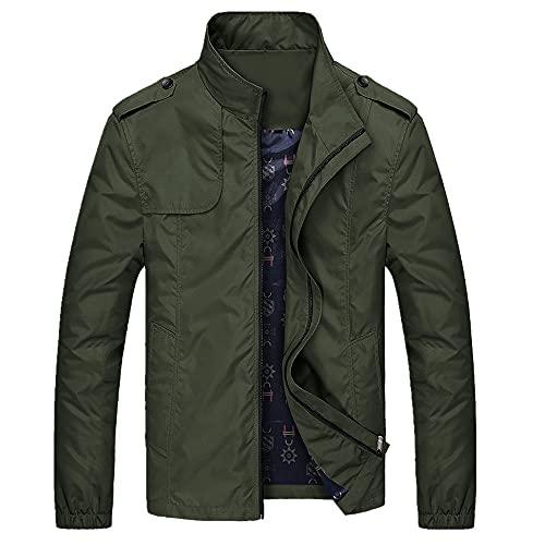 Giacche e cappotti casuali di misura esili degli uomini della giacca di colore solido, Verde, L