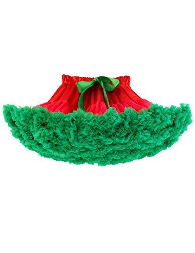Baby Girls Tutu Skirt Princess Fluffy Soft Chiffon Ballet Birthday Party Pettiskirt Red-Green S