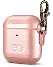 Dreem Om AirPods 1 & 2 fodral i veganskt läder med hake till laddningsetuiet - Kompatibel med Apple Bluetooth trådlösa in-ear hörlurar för iPhone [With Clip] - Roséguld
