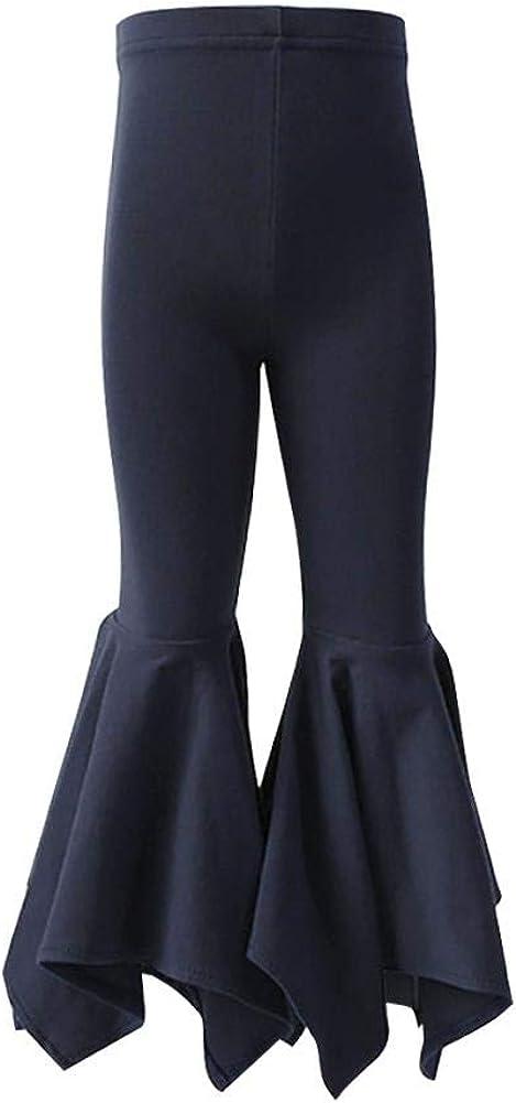IBTOM CASTLE Baby Girl's Asymmetrical Ruffle Leggings Long Cotton Boutique Elastic Waist Pants Slacks Activewear