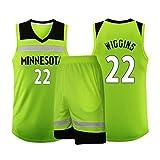 SHR-GCHAO Baloncesto Conjunto Jersey, Minnesota Timberwolves 22# Wiggins Clásico Sin Mangas Set, Aficionados Formación Regalo Camiseta De Baloncesto para Hombres Unisex Cesta Traje,4XL