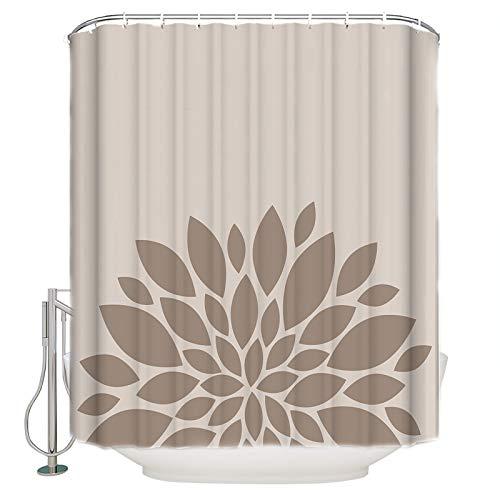 "ZOE GARDEN Shower Curtain Set with Hook 48"" x 72"", Brown Flower, Bathroom Decor Waterproof Polyester Fabric Bathroom Accessories Bath Curtain Retro Backdrop"