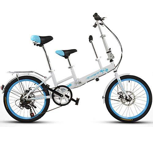 KaiKai - Bicicletta per genitori e bambini, 20 pollici, doppia madre e pedalata per bambini, freno a disco regolabile, bicicletta pieghevole da donna, 1 (colore: 3)