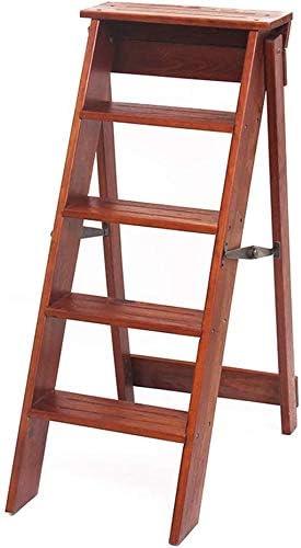 shopping LYRR Brown Black 3-Step Folding Solid Wood Ladder Stool Dallas Mall Portable