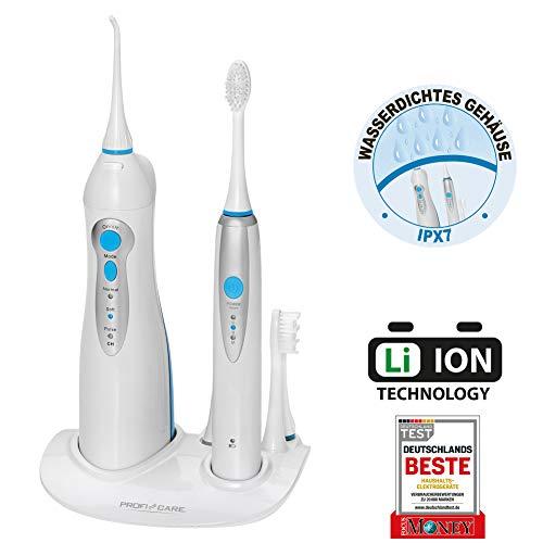ProfiCare Dental-Center PC-DC 3031, 2in1-Schall-Zahnbürste und Munddusche, Zahnbürste 31.000 Vibrationen/min, Munddusche 4-Stufenschalter zur Regelung des Wasserdrucks, kabellos, weiß