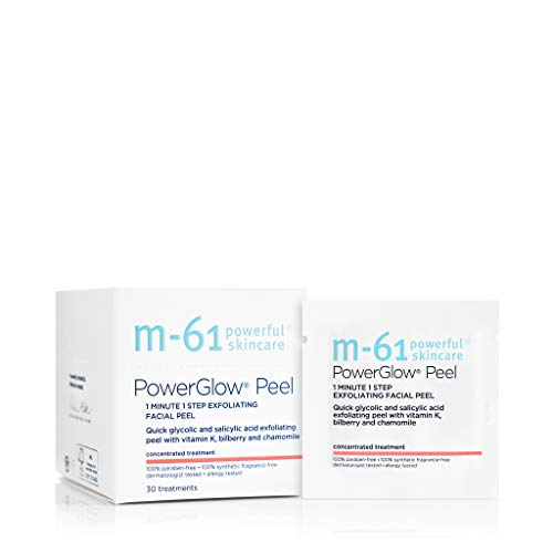 M-61 PowerGlow Peel- 30 Treatments- 1-minute, 1-step exfoliating glow peel with glycolic, vitamin K & chamomile