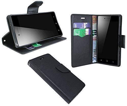 Elegante–Funda de Libro para el Lenovo Vibe Shot Z90–7en Negro imitación de Piel Wallet portatil de Style @ Energmix
