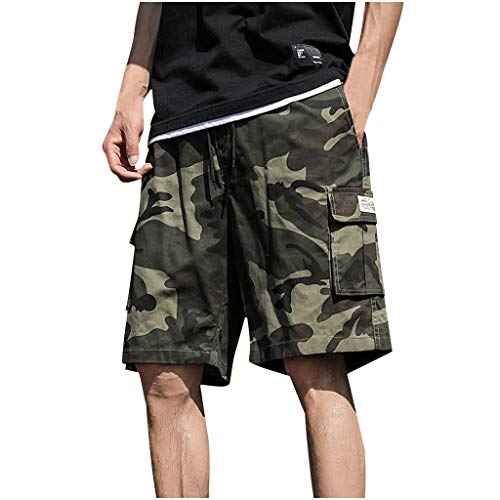 MIRRAY Herren Sommer Outdoor Casual Camouflage Overalls Plus Size Sport Shorts Hose Trainingsanzug Fitness Workout Jogger Loose Fit Schnür-Jogginghose