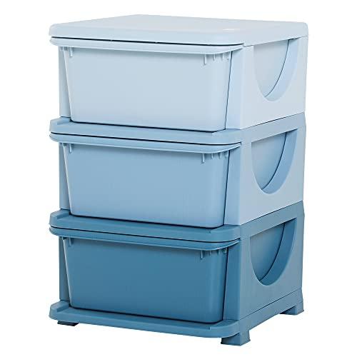 HOMCOM Torre de Almacenamiento Infantil con 3 Cajones Organizador de Juguetes para Niños +3 Años Gran Almacenaje con Asas para Juguetes Ropa Libros 37x37x56,5 cm Azul