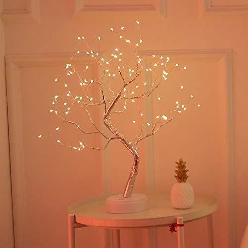 Fiesta decoración luces nueva Navidad pequeña lámpara de mesa luces de color LED cobre lámpara árbol interruptor táctil perla babysbreath decorar la noche luz