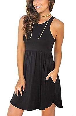 WNEEDU Women's Sleeveless Loose Plain Dresses Casual Short Dress with Pockets