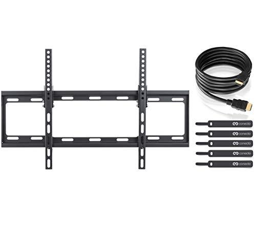 TV Wandhalterung für 32 -65 Zoll (ca. 81-165cm) Flach & Curved LCD LED OLED Fernseher & TFT Monitor | Neigbar | Wand Halter Fernseher Halterung | VESA 200x200 - 600x400 | Schwarz