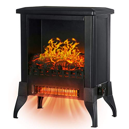 KINGSO Electric Fireplace Heater, 18 Inch Fireplace Heater with 3D Realistic Flame Effect, Indoor Electric Stove Heater, CSA Certified Overheating Safety Protection , Portable, 1400W