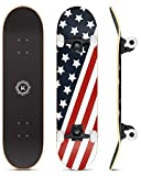 """STRONG AND DURABLE CONSTRUCTION: 31""""x8"""" complete skateboards, 7 layers Canadian maple wood deck.,Sturdy enough to take some abuse to do some tricks and has a higher weight capacity than most boards. This board is absolutely perfect for beginners to i..."""