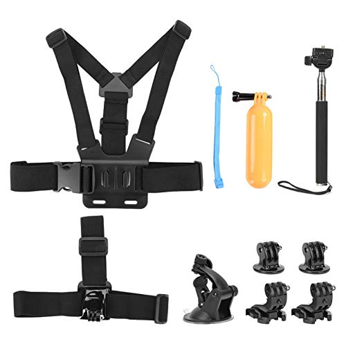 Kit de accesorios de cámara de acción para cámaras deportivas Gopro Hero 7/5/6, kit de cámara de acción universal 6 en 1 con soporte de montaje de correa para la cabeza / arnés de pecho / palo para se
