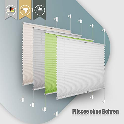 Plissee ohne Bohren klemmfix Jalousie Sonnenschutz Easyfix Faltrollo Crushed Optik Lichtdurchlässig Rollo für Fenster Tür Weiß 90x200cm(BXH)