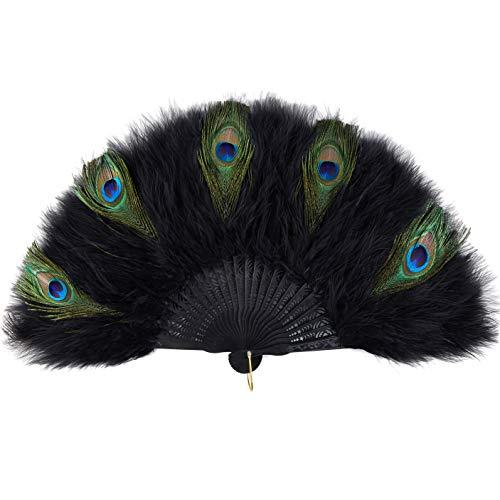 ArtiDeco Abanico de plumas de marabú de los años 20, plegable, de mano, para fiestas de Gatsby vintage de los años 20, negro