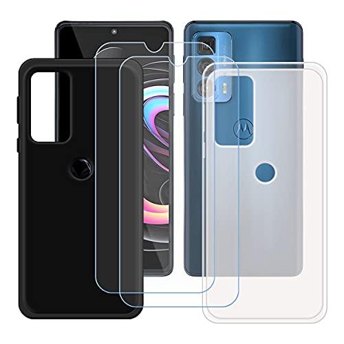 """szjckj 2 x Funda para Motorola Edge 20 Pro (6,7"""")+ 2 x Protector de Pantalla, Case Cover Carcasa Bumper Negro + Translúcido Clear TPU Silicone Cristal Vidrio Templado."""