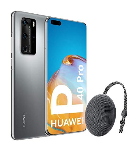 "Huawei P40 Pro 5G - Smartphone de 6,58"" OLED (8GB RAM + 256GB ROM, Cuádruple Cámara Leica de 50MP (50+40+12+TOF), zoom 50x, Kirin 990 5G, 4200 mAh, carga rápida , EMUI 10 HMS) Plata + altavoz CM51"