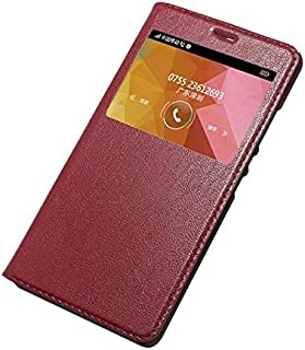 Yhuisen Genuine Leather Ultra Thin Flip Window View Stand Feature Case Cover compatible with Huawei Honor V8 (Color : Wine...
