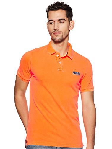 Superdry Herren Hyper Classic Pique Polo Poloshirt, Orange (Fluro Orange 12m), XXX-Large