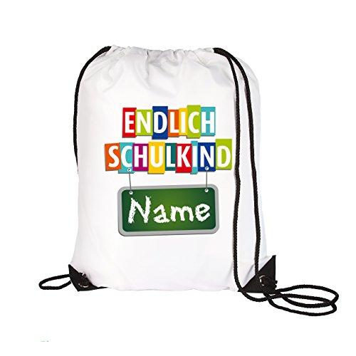 Striefchen® Turnbeutel mit Namen - Endlich Schulkind - ideal zur Schuleinführung inkl. Geschenkverpackung