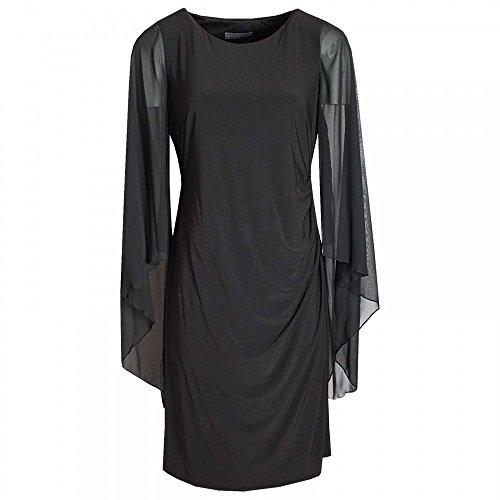 Michaela Louisa Long Floating Sleeve Shift Dress 10 Black
