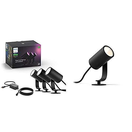 Philips Hue Ambiance Lily - Lámpara LED, Aluminio [Clase de eficiencia energética A] + Philips Hue Lily Foco inteligente de exterior LED (IP44), Compatible con Alexa y Google Home