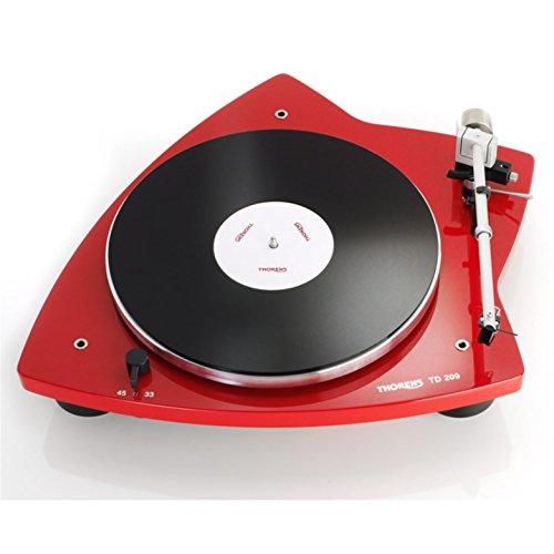 Thorens TD 209 - Tocadiscos manual (33 o 45 rpm, TP90 AT95B, color rojo brillante)