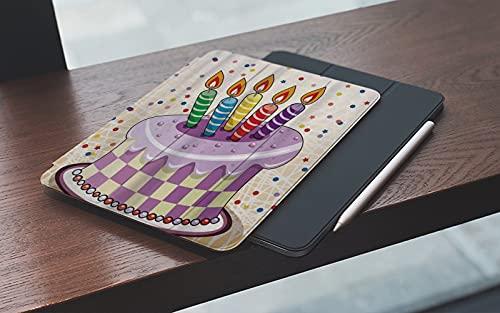 MEMETARO Custodia per iPad 9.7 2018 6a Generazione/2017 iPad 5a GenerazioneIllustrazione cremosa della Torta di Compleanno con Le Candele Retro Polka Dots S– Smart Cover Stand Ultral Leggero Slim