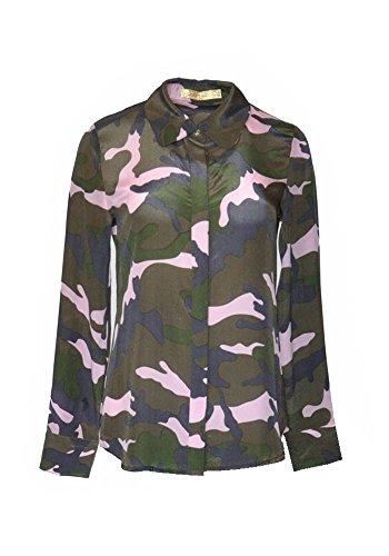 ANA PIRES MILANO Camisa de Victoria, Mujer, 100% Seda, Camisa de Camuflaje;Talla...
